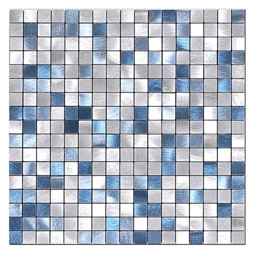 BeNice Piastrelle Adesive Cucina,Piastrelle Adesive Parete Bagno Metallo Mosaico Adesivo Per Piastrelle(5Pezzo Blu)