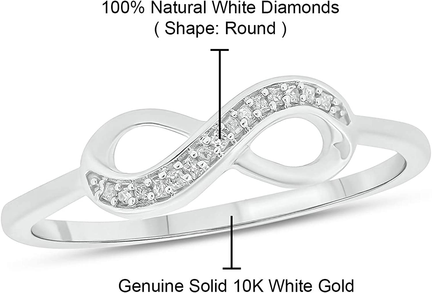Cali Trove 10K White Gold 1/20Ct Round White Natural Diamond Promise Infinity Ring for Women