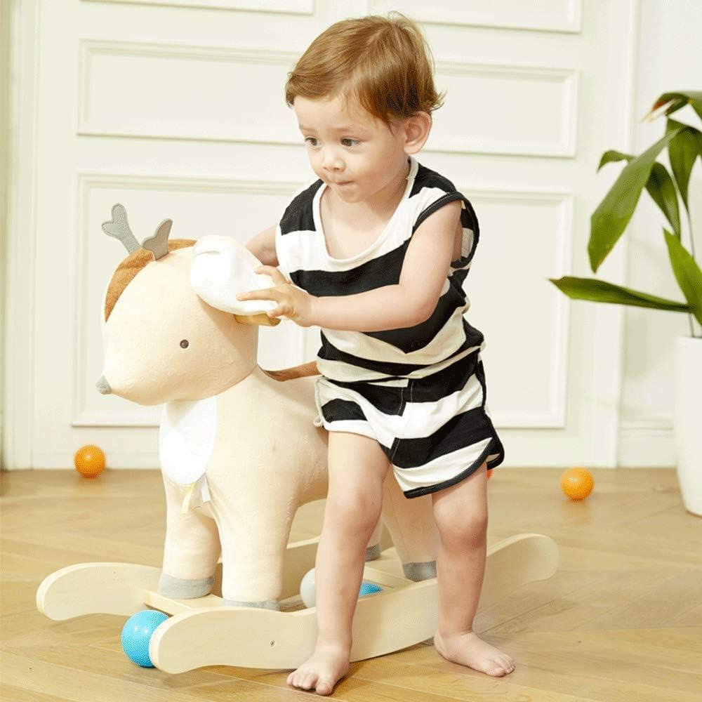 Chaise berçante bébé Cheval à Bascule Convient aux Nourrissons de Plus de 13 Ans Chaise berçante Animal en Peluche, Jouet d'équitation Enfant en Bas âge pour Enfants Brown