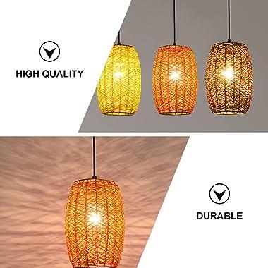 FRCOLOR Rattan Pendant Light, Swag Ceiling Lamp Woven Chandelier Hanging Light Fixture Decoration for Home Restaurant Bar Caf