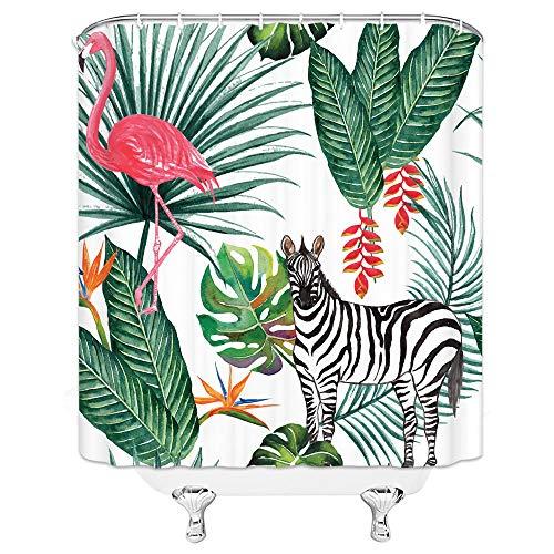 FFBYQ Duschvorhang 3D Blätter Der Zebrapflanze,Hintergrundmuster Duschvorhang 3D-Druck Wasserdicht Beschichtetes Polyestergewebe Badvorhang 180X180Cm Breite X Höhe
