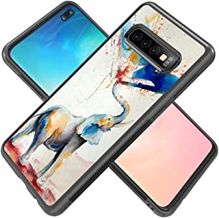 POKABOO Compatible with Samsung Galaxy S10 Plus Case, [Scratch Resistance + Shock Absorption] Slim Flexible Protective Silicone Cover Phone Case for Galaxy S10 Plus - Colorful Elephant