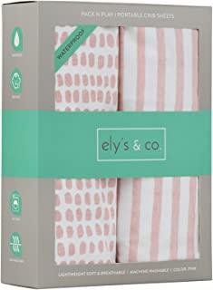 Waterproof Pack N Play/Mini Portable Crib Sheet with Mattress Pad Cover Protection I Mauve Pink Stripes and Splash by Ely's & Co.