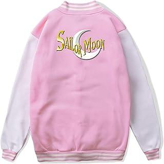 VJJ AIDEAR Sailor Moon Baseball Uniform Jacket Sport Coat Girl Long Sleeve Hoodie Sweatshirt Black