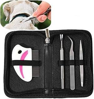 Ensemble d'outils pour éliminer les tiques, 3pcs Kit de puces pour tiques en acier inoxydable avec sac de rangement et pei...