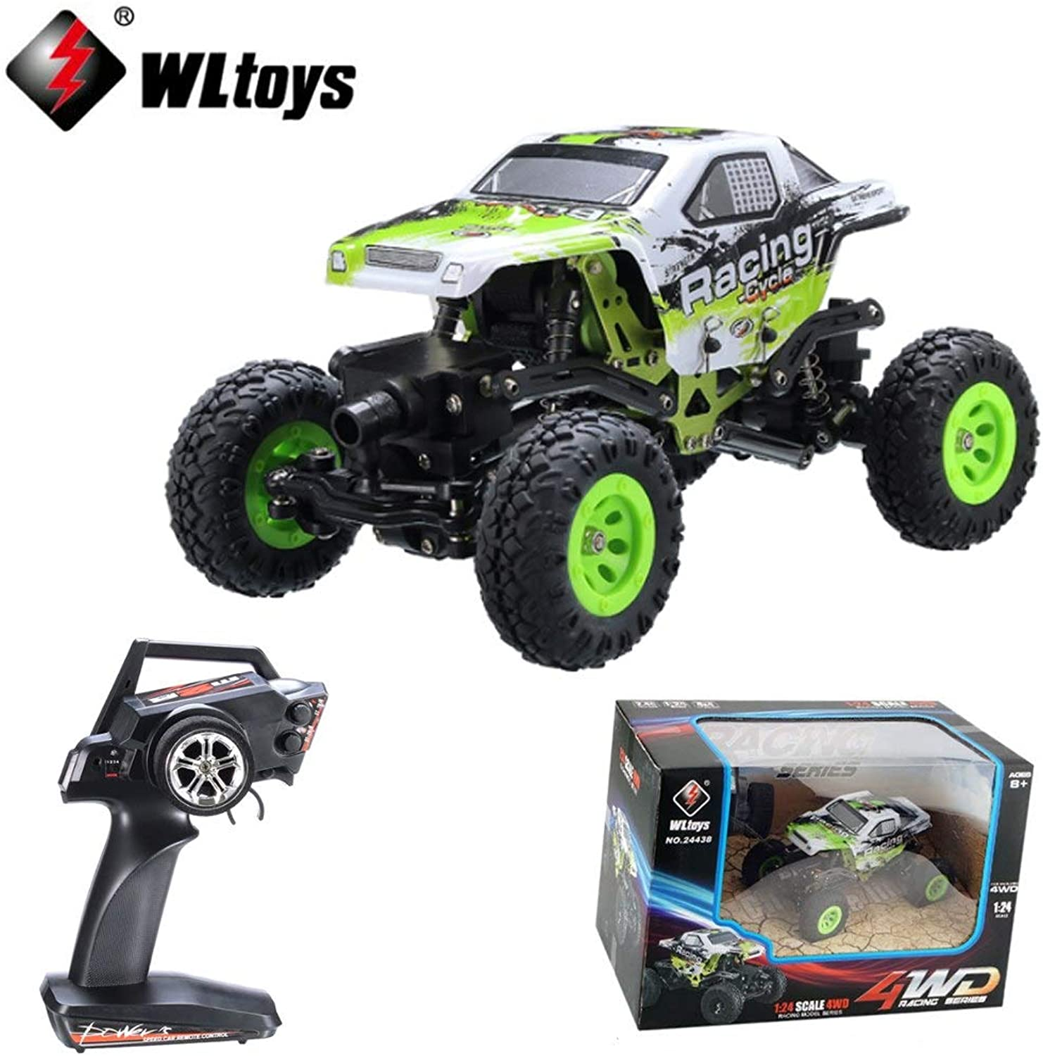 Generic 1 Set Wltoys 24438 1 24 2.4G 4WD OffRoad Remote Control Car Toys car Climbing RC Racing Car Radio Controlled Boys Toy