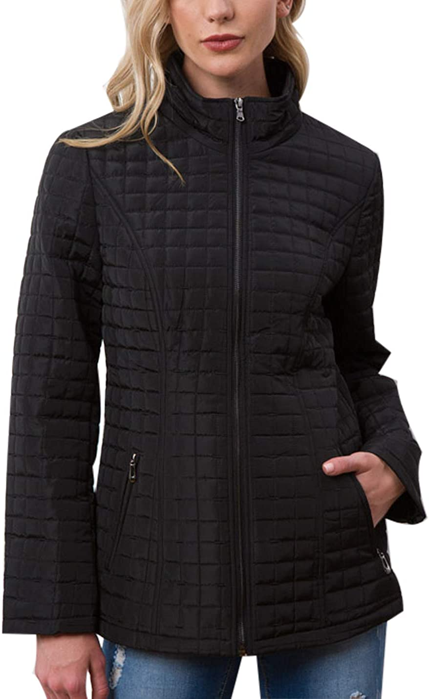 Jenkoon Women's Casual Loose Stand Collar Plaid Winter Quilted Jacket Overcoat Tops