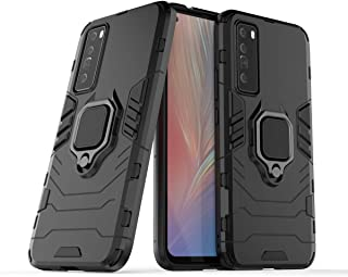 FanTing Case for Huawei nova 7, Rugged and shockproof,with mobile phone holder, Cover for Huawei nova 7-Black
