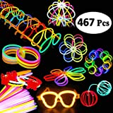 BUDI 200 Glow Sticks 467Pcs Glow Party Favors for Kids/Adults: 200 Glowsticks Party Packs 7 Colors & Connectors for Glow Necklace, Flower Balls, Luminous Glasses and Triple/Butterfly Bracelets