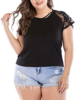 DADKA Large Size Womens Sexy Shirts Casual Lace Stitching Short Sleeves Backless Tank Top T Shirt Blouse