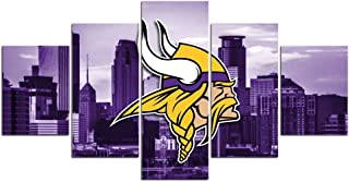 Minnesota Vikings NFL Team Logo Pictures for Wall Art Paintings 5 Piece Canvas Living Room Decor Abstract Artwork House Decoration Poster Prints Framed Ready to Hang(60''Wx32''H)