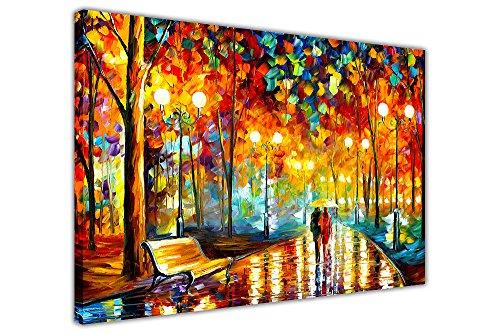 """Leinwandbild """"Rains Rustle"""" von Leonid Afremov, auf Rahmen, Wandkunst, Kunstdruck, Stadtlandschaft, canvas, 06- A0 - 40"""" X 30"""" (101CM X 76CM)"""