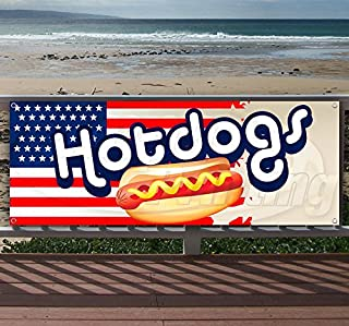 Hotdogs 13 oz Heavy Duty Vinyl Banner Sign with Metal Grommets, New, Store, Advertising, Flag, (Many Sizes Available)