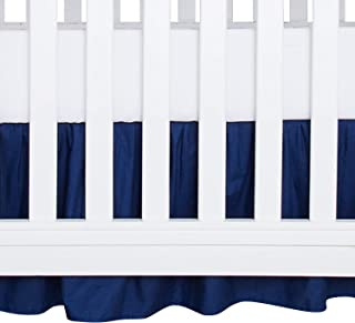 TILLYOU Crib Bed Skirt Dust Ruffle, 100% Natural Cotton, Nursery Crib Toddler Bedding Skirts for Baby Boys or Girls, 14