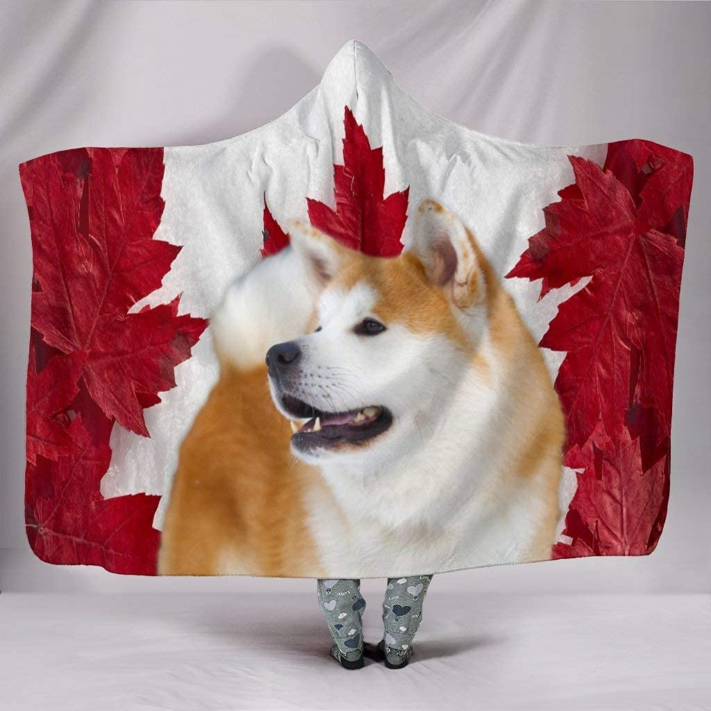 Boston Special price for a limited time Mall Cute Akita Dog Hooded Blanket Print