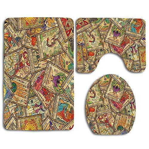 Not Applicable Brett Wicca Old Tarot Maskottchen Hexerei Antike Astrologie Design Fabel 3 Stück Bad Teppich Set Toilette Bad Teppich Matte U-Form Kontur Deckel Abdeckung