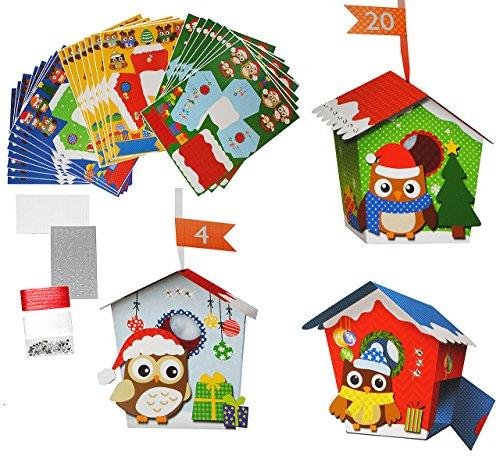 alles-meine.de GmbH XL BASTELSET Weihnachtskalender - 24 Vogelhäuser mit Eulen / Eule zum Aufhängen / Hinstellen + Befüllen - selber Basteln - für Erwachsene / Kinder / Mädchen J..
