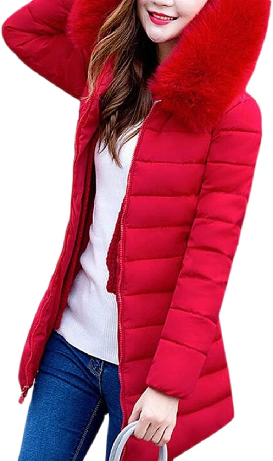 TymhgtCA Womens PlusSize Hood Faux Fur Trim Thick Quilted Coat Full Zip Jackets