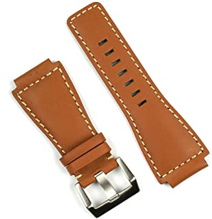 Tan Calf with White Stitch Replacement Leather Watch Band for Bell & Ross BR01 BR03 in a Medium