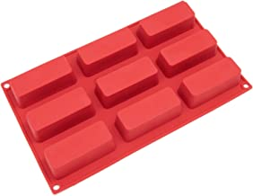 Freshware SL-113RD 9-Cavity Narrow Silicone Mold for Soap, Cake, Bread, Cupcake, Cheesecake, Cornbread, Muffin, Brownie, a...