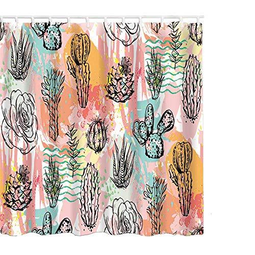 Litthing Duschvorhang 180x180 Anti-Schimmel und Wasserabweisend Shower Curtain mit 12 Duschvorhangringen 3D Digitaldruck Grüne Pflanze mit lebendigen Farben (11)