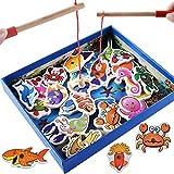 Guohailang Brain Game for Kleinkind-Jungen-Mädchen-Alter 3 + Holz Fishing Pole-Spiel for Kinder Go Fish Gaming-Geschenk-Spielzeug mit 32 Ozean Tiere Und Doppel-Pole spielt mit den Eltern und Freunden