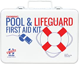 Swimming Pool & Lifeguard First Aid Kit - Sturdy Water-Resistant case, Signalling Whistle & More, Home, Office, or Sports - Safe Fun in The Sun Poolside - Made in USA