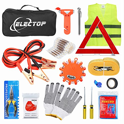 ELECTOP Car Roadside Emergency Kit 66 Pieces-in-1 Auto Vehicle Safety Emergency Road Side Assistance Kits with Jumper Cables,LED Road Flare Warning Light,Tow Rope,Triangle,Tire Pressure Gauge, ect