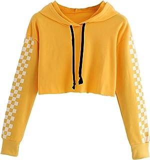 HUILAN Women's Long Sleeve Plaid Checkered Sweatshirt Crop Top Hoodies