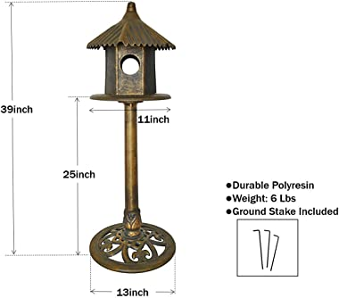 Bird House for Outside Outdoor Patio Garden Yard Decorative Decor Free-Standing Classic Heights with Domed Roof and Pedestal
