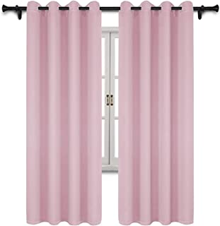 SUO AI TEXTILE Thermal Insulated Drapes Grommet Top Blackout Room Darkening Window Panels Energy Efficient Window Curtains for Girls Room,Baby Pink, 2 Panels, 52 x 84 Inch