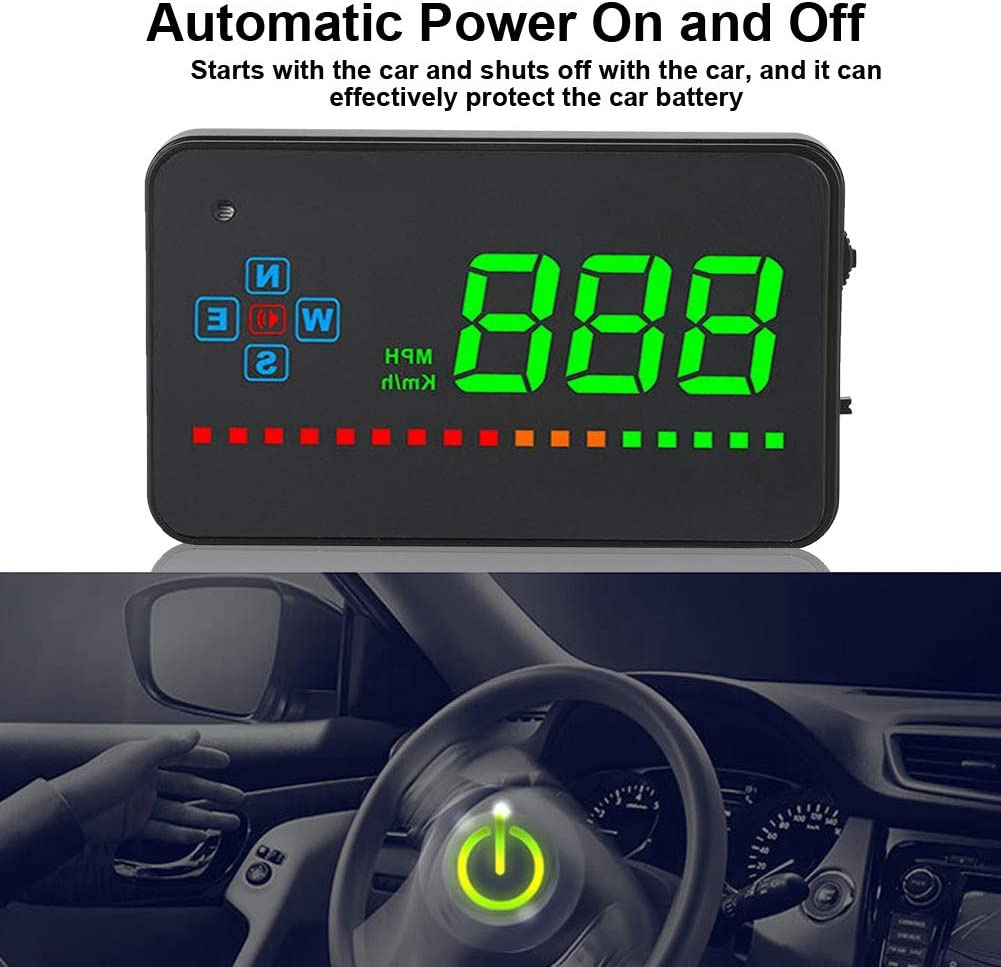 Car Head Up Display, Car GPS HUD Head Up Display OBD MPH Speed Warning HD Projection 8-18V Universal for All Cars