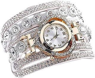 Women Watch Analogue Quartz Watch with Velvet Extra Thin Rhinestone Armband Multilayers Bangle Decorated Heart Shape Casua...