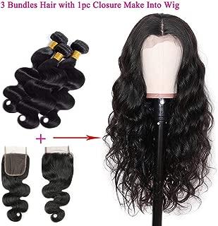 JINREN Lace Front Human Hair Wigs 280% Density 4X4 Lace Closure Wigs Body Wave Virgin Human Hair Wigs for Black Women (16inch, Body Wave Wigs)