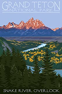 Grand Teton National Park, Wyoming - Snake River Overlook (9x12 Art Print, Wall Decor Travel Poster)