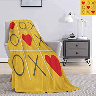 Luoiaax Love Soft Throw Blanket for Bed Couch Tic-Tac-Toe Game with XOXO Design Let Me Kiss You Valentines Romantic Illustration All Season Premium Fluffy Blanket W54 x L72 Inch Yellow Red