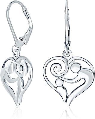 Orecchini penzoloni a leva a forma di cuore madre amorevoli per le donne per la nuova madre ossidata 925 sterling silver