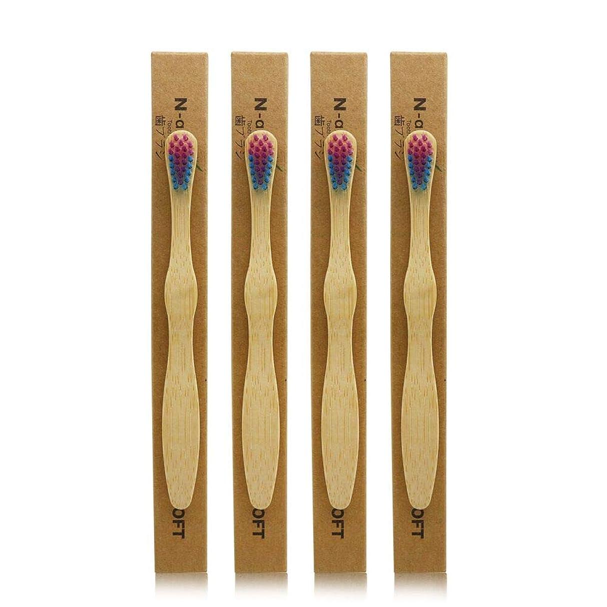 合併クリスマス悪因子N-amboo 竹製耐久度高い 子供 歯ブラシ エコ 4本入り セット むらさきいろ