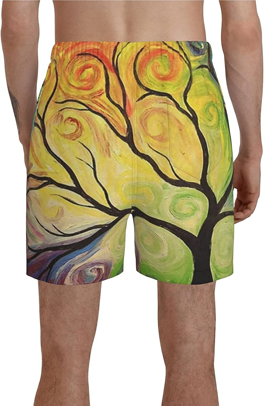 Colorful Rainbow Tree of Life Men's 3D Printed Funny Summer Quick Dry Swim Short Board Shorts with