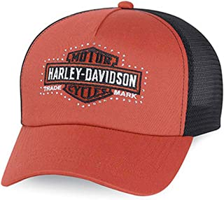 HARLEY-DAVIDSON Women's Bar & Shield Logo Trucker Cap, Orange/Black. 99500-15VW