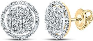 FB جواهر الذهب الأصفر 10kt رجل جولة الماس أقراط 3/4 Cttw