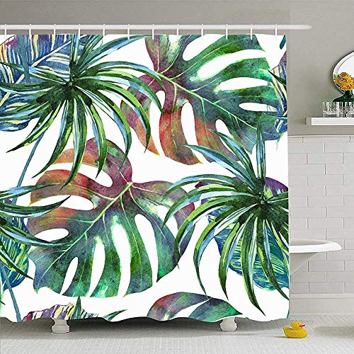Hotyle Duschvorhang Set mit Haken 120X180Cm Tropical Palm Botanical Tree Leaves VintageExotische Textur Dschungel Dekoration Monstera Blatt Natur