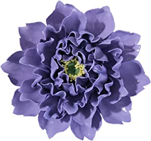 ALYCASO Peony Ceramic Flower Wall Décor Artificial 3D Flower Wall Art for Living Room Home Hallway Bedroom Kitchen Farmhouse Bathroom Dining Room, Purple, 7.08 inch