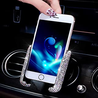 SUNACCL Bling Car Phone Holder Mini Car Dash Air Vent Automatic Phone Mount Universal 360°Adjustable Crystal Auto Car Stand Phone Holder Car Accessories for Women and Girls (White)