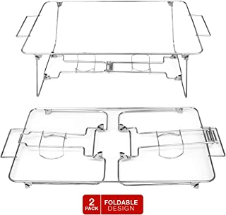 Sorbus® Buffet Rack Chafing Stand – Set of 2 Foldable, Collapsible, and Reusable Chrome Wire Buffet Serving Trays