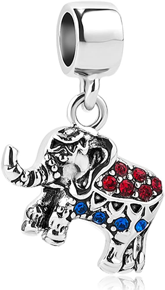 JewelryHouse Large Elephant Animal Charms Long Nose Simulated Crystal Bead Charms