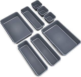 Organisateurs de Tiroir de Bureau OMEW 8 pièces, Diviseurs de Tiroirs Imbriqués 3 Tailles Boîtes de Rangement Polyvalentes...