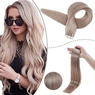 RUNATURE Tape In Hair Extensions 12 Inches Color 18 Tape In Ash Blonde Hair Extensions 40g 20 Pieces Straight Extensions Hair Human Hair Tape Extensions Blonde Short Human Hair Extensions for Women