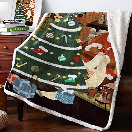 DoremiHome Merry Christmas Plush Sherpa Throw Blanket for Couch Sofa Fluffy Fleece Throw for Chair Crib Living Room Travel Santa Claus and Xmas Tree 50x60 inches
