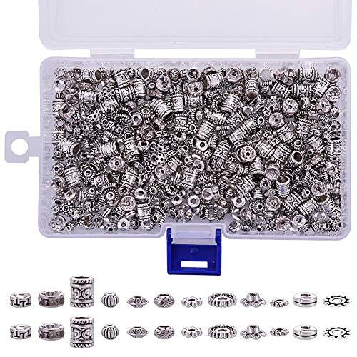 WXLAA - 600 piezas mixtas de perlas espaciadoras antiguas de plata y metal redondo para joyas, collares, pulseras, pendientes con 12 estilos diferentes